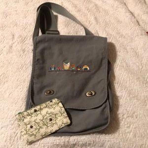 Handbags - Owl crossbody bag/purse cotton canvas